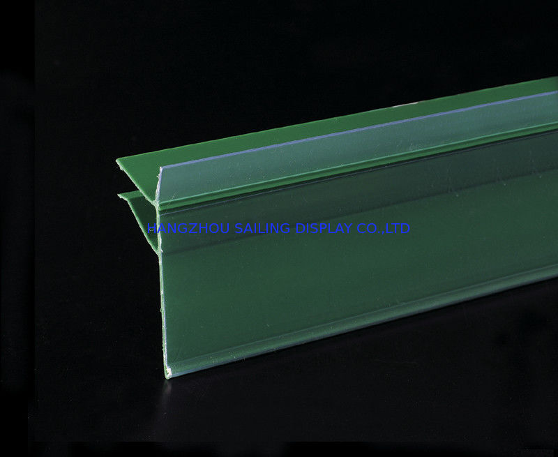 Green PVC Data Strip Sign Holder for Mall Shelves And Price Tag Inserted आपूर्तिकर्ता